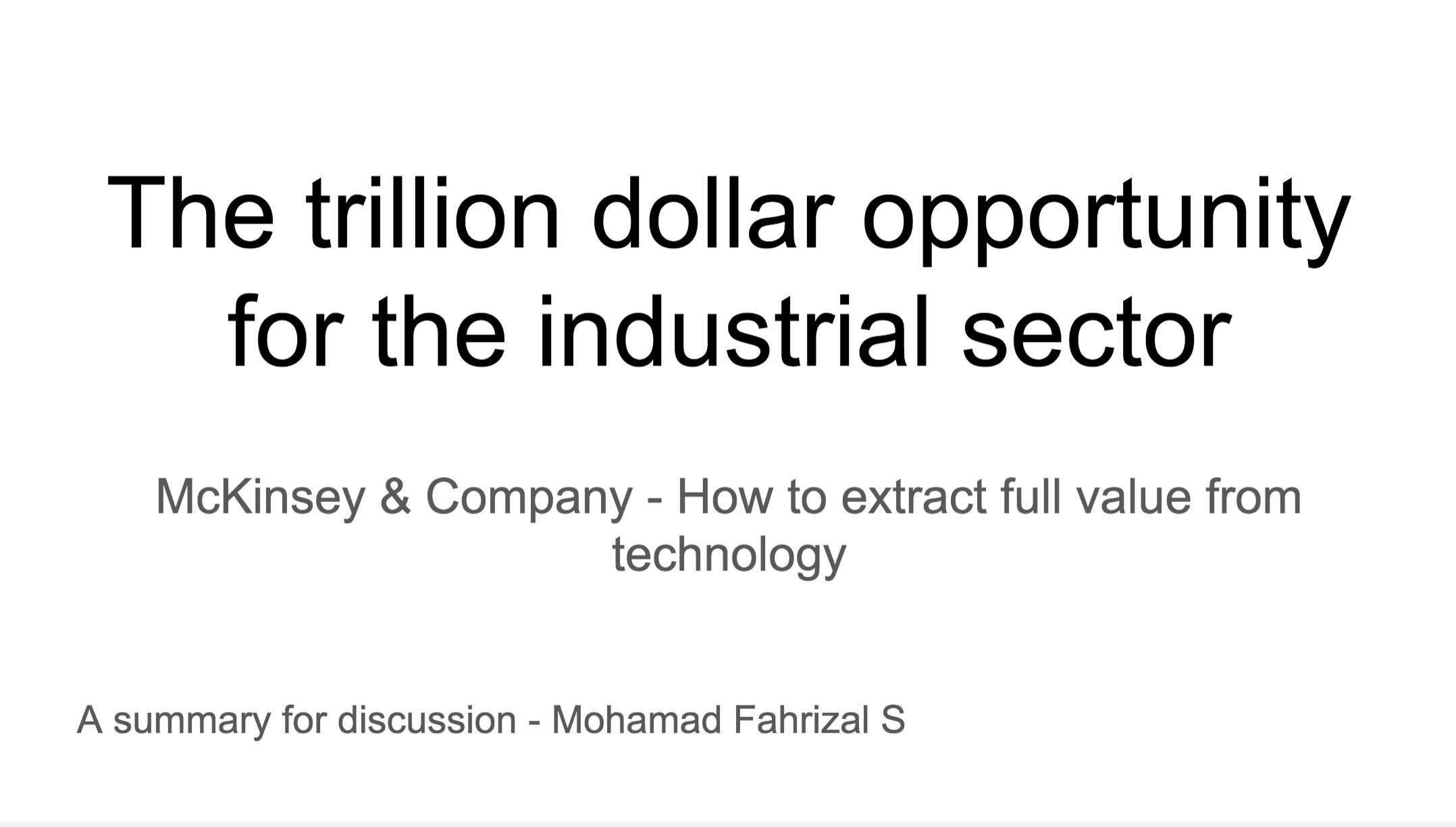 The trillion dollar opportunity for the industrial sector